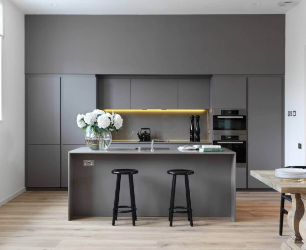 Modern-kitchen-gray-cabinets-linear-style